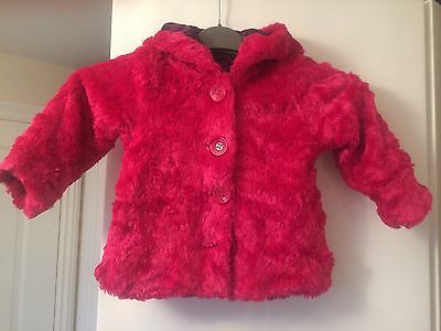 Girls Baby George faux fur coat age 12-18 Months - Pink