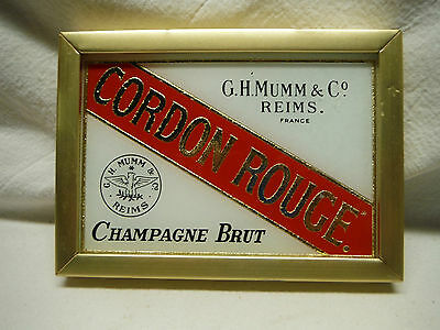 Cordon Rouge Champagne Brut Advertising Wall Sign Glass Frame