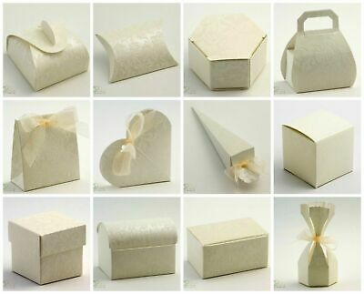 Italian Ivory Diamante Embossed Wedding Favour Gift Boxes Diy Party