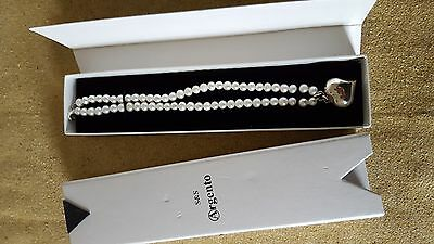 Freshwater pearl bracelet with silver heart charm by Argento