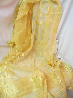 Vintage pair German Lace yellow gold Curtain Panel piece Flowers
