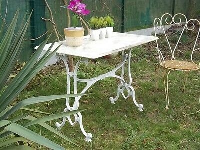 French Vintage Cafe/bistro/garden Table Marble/iron