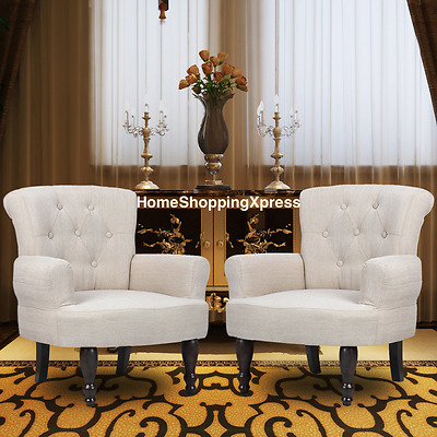 French Style Armchair Set Of 2 Vintage Retro Chairs Living Room Furniture Comfy