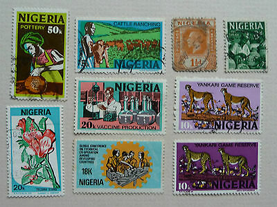 Group of 9 Stamps of Nigeria, SG26-518, issued 1931-1986. Used