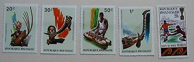 5 stamps of Republic of Rwanda feat. Football and Music. 1970 & 1973