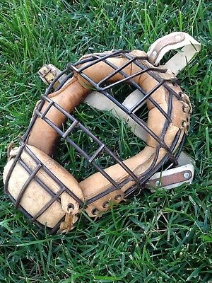 Old Vintage Square SPITTER Antique Leather Baseball Catchers Mask Guard CIRCA