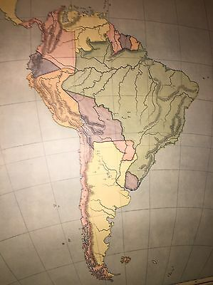 Antique 1887 Color Map School Chart South America Brazil Columbia Geography