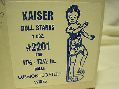 "NOS Kaiser Doll WIRE Stands for Barbie11-12.5"" HIGH DOLLS -DOZEN STANDS IN BOX"
