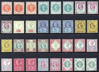GB QV SG197 - SG211 1/2d - 1/- Dull Green Jubliee Collection Mint Hinged/MNG