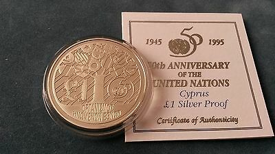 """Cyprus 1995 """"United Nations"""" Silver Proof  £1 Coin"""