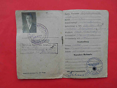 Occupation of UKRAINE 1942 Woman Document ID with real photo, SMELA Cherkassy