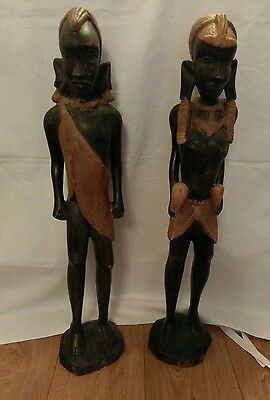 Pair Of Antique African Tribal Carved Woden Figures