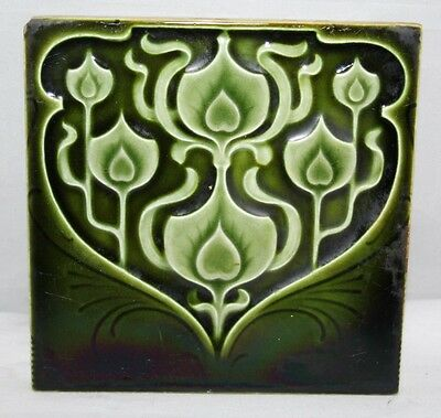 "Antique Art Nouveau Green 6"" Tile - c1900"