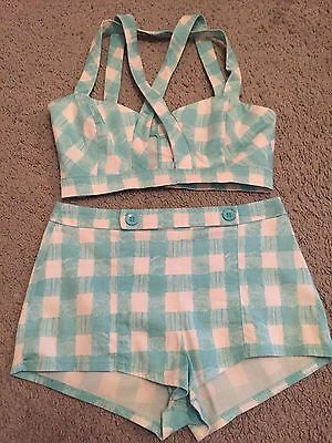 Blue & White Check Short Set Asos Petite Uk 6