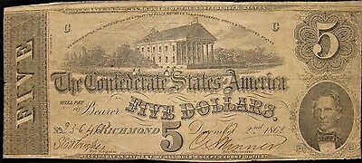 1862 Confederate $5.00 Note Featuring Christopher Memminger. T-54 Civil War.