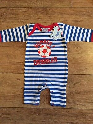New Baby Boy 3-6 Months Football Romper 100% Cotton Blue Red Footless Sleepsuit