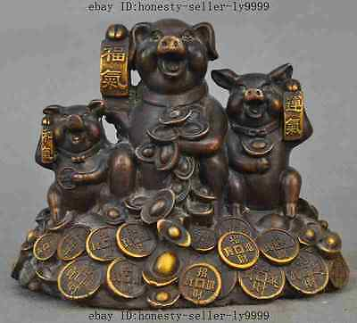 "6""old chinese bronze gilt wealth money coin ingot pig swine Porcine lucky statue"