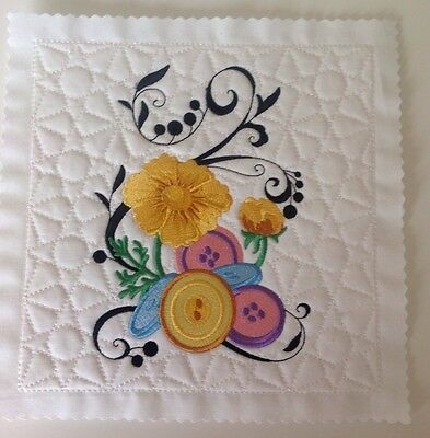 Fanciful Buttons embroidered and quilted block