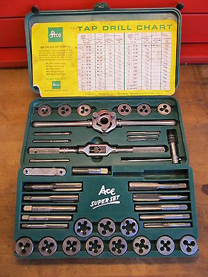 Vintage Hanson Ace Super Set of Taps and Dies. No. 614 Made in USA +++Condition.