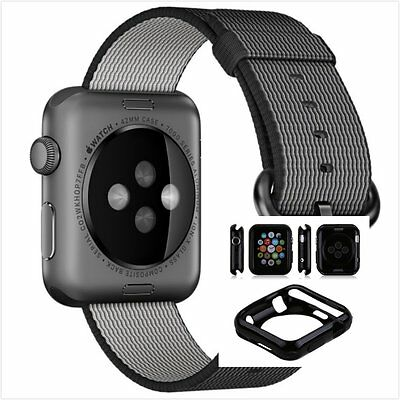Black Woven Nylon Wrist Band Strap Bracelet For Apple Watch 38mm Black Case