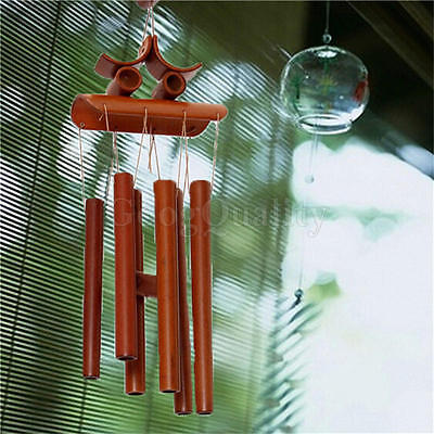 Bamboo Wood Wind Chimes Tubes Outdoor Bells Garden Patio Décor Happiness Lucky