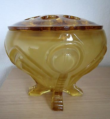 Amber glass Art Deco Sowerby posy vase complete with frog