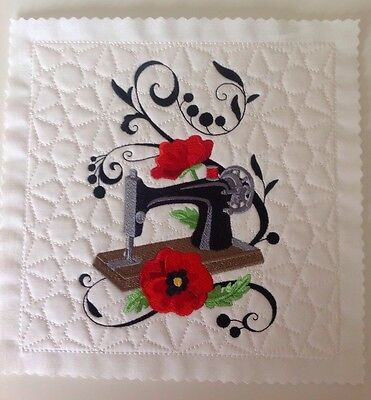 Fanciful Sewing Machine embroidered and quilted block