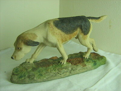 Arista designs Hawick hand painted signed figure fox hound dog by P Hogg 1981