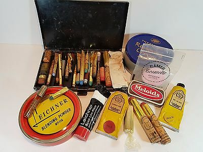 Vintage Greasepaint Stage Makeup Mostly Leichner, Meloids Tin & Metal Case