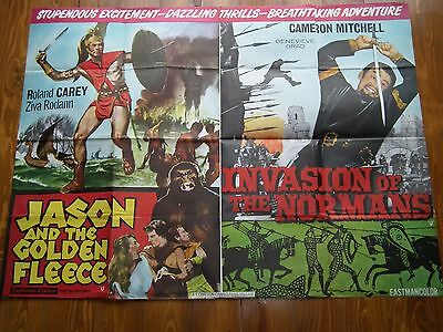 1960s UK QUAD FILM POSTER JASON & THE GOLDEN FLEECE / INVASION OF THE NORMANS