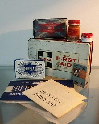 "Vintage BRADEX mini  ""First Aid Box"" With original contents"