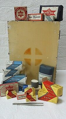 Vintage Small Wall Mounting First Aid Box with some original contents