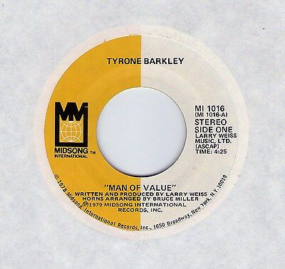 """Classic Northern Soul (Hear!) TYRONE BARKLEY """"Man Of Value"""" Midsong"""