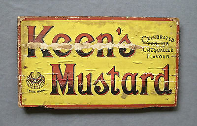 Old Antique 19th Century Double Sided  Wooden Advertising Sign Keen's Mustard