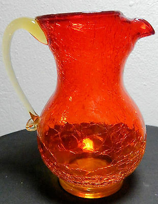 Beautiful Crackle Glass Pitcher - Yellow Amber Crackle Glass Pitcher