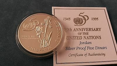 """Jordan 1995 """"United Nations"""" Silver Proof 5 Dinars Coin. Scarce!"""