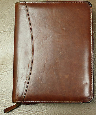 """6 -1.25"""" Ring Franklin Covey Planner Distressed Caramel Brown Leather Compact"""