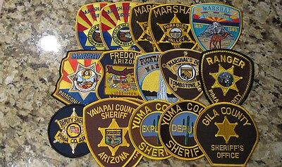 Arizona Sheriff / Marshal Police Patch Lot ( Used ) 16 Patches