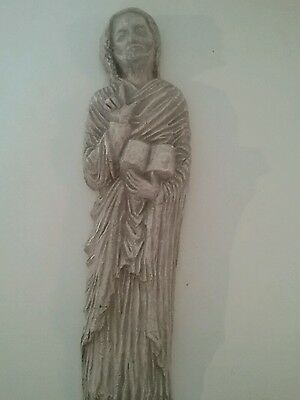 Vintage French plaster wall hanging of apostle or disciple