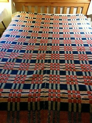 Antique Overshot Woven Coverlet - Mid-19th Century