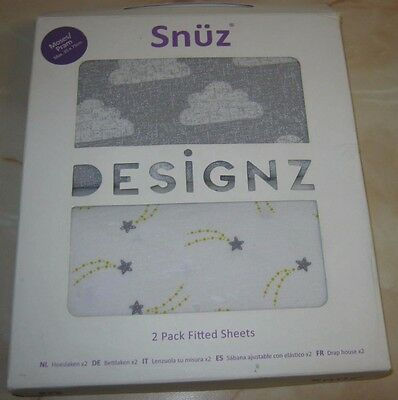 Snuz Moses Basket/Pram Fitted Sheets - Cloud Nine Print