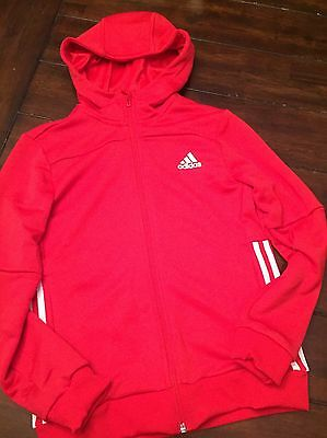 Adidas Youth Red Zip Up Light Hoodie Unisex Slim Fit Youth Size 11-12