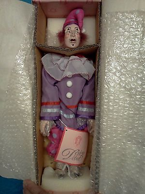 """14"""" JESTER-OR-PIEROT-OR-CLOWN DOLL Detailed Face Vintage NEW In Box"""