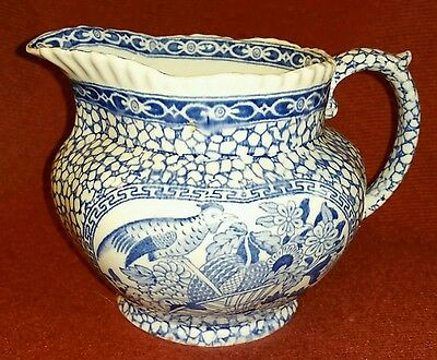 Vint. Staffordshire Blue Transferware Adams Chinese Bird Milk Pitcher Jug 1930's