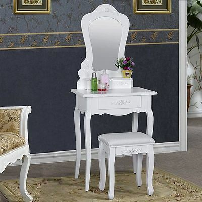 Small Dressing Table White with Stool 3 Drawer Storage Baroque Style Bedroom