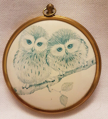 Vintage Plaque From The Miniature World Of Peter Bates - Owls