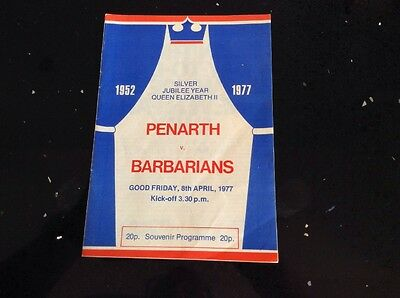 PENARTH v BARBARIANS - Rugby Union Official Programme - April 1977 - Collectable