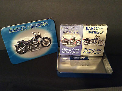 Harley Davidson Softail 2 Decks of Playing Cards in Collectible Tin