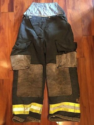 Firefighter Turnout Bunker Pants Globe 34x28 BLACK Bib EUC Halloween Costume
