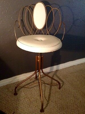 Vintage Vanity Stool Mid-Century Hollywood Regency Adjustable Height